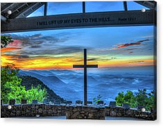 The Cross Sunrise At Pretty Place Chapel Acrylic Print by Reid Callaway