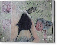 Acrylic Print featuring the painting The Crow Called The Raven Black by Kim Nelson