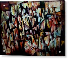 Acrylic Print featuring the painting The Crowds by Kim Gauge