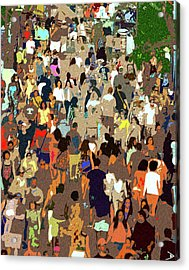 Acrylic Print featuring the painting The Crowd by David Lee Thompson