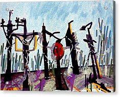 The Crucified...after Picasso Acrylic Print by Paul Sutcliffe