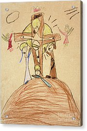 Acrylic Print featuring the drawing The Crucifixion By Fr. Bill At Age 5 by William Hart McNichols