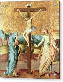 The Crucifixion With The Virgin And St John The Evangelist Acrylic Print by French School