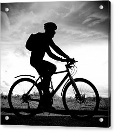 The Cyclist - Dublin, Ireland - Black And White Street Photography Acrylic Print by Giuseppe Milo