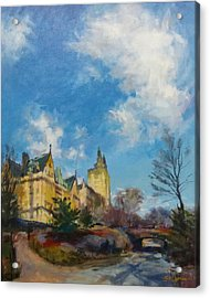 The Dakota And San Remo Towers From Central Park West Acrylic Print by Peter Salwen