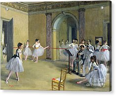 The Dance Foyer At The Opera On The Rue Le Peletier Acrylic Print by Edgar Degas