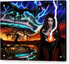 Acrylic Print featuring the painting The Dark Caster Calls The Storm by James Christopher Hill