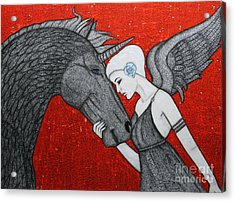 The Dark Unicorn Acrylic Print by Natalie Briney