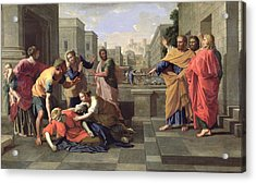 The Death Of Sapphira Acrylic Print by Nicolas Poussin