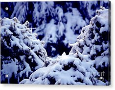 Acrylic Print featuring the photograph The Deep Blue - Winter Wonderland In Switzerland by Susanne Van Hulst