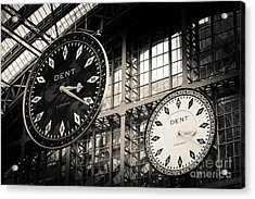 The Dent Clock And Replica At St Pancras Railway Station Acrylic Print