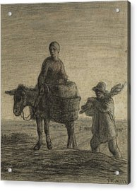 The Departure For Work Acrylic Print by Jean-Francois Millet