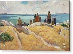 The Departure Of The Mayflower For England In 1621 Acrylic Print by Newell Convers Wyeth