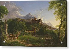 The Departure Acrylic Print by Thomas Cole