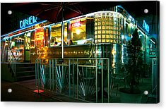 The Diner By Night Acrylic Print by Dieter  Lesche