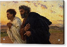 The Disciples Peter And John Running To The Sepulchre On The Morning Of The Resurrection Acrylic Print by Eugene Burnand