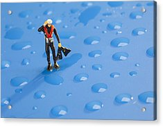 Acrylic Print featuring the photograph The Diver Among Water Drops Little People Big World by Paul Ge