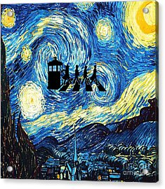 The Doctor Flying With Starry Night Acrylic Print