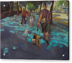 The Dog Walker Acrylic Print by Merle Keller