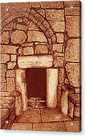 Acrylic Print featuring the painting The Door Of Humility At The Church Of The Nativity Bethlehem by Georgeta Blanaru