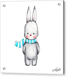 The Drawing Of Cute Bunny In Scarf Acrylic Print by Anna Abramska