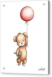 The Drawing Of Teddy Bear With Red Balloon And Flowers Acrylic Print by Anna Abramska