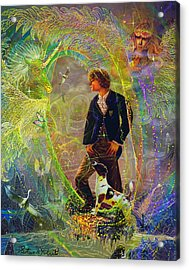 Acrylic Print featuring the painting The Dreamer-angel Tarot Card by Steve Roberts