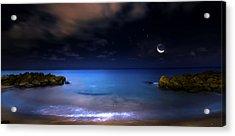 Moonrise Lagoon Acrylic Print by Mark Andrew Thomas