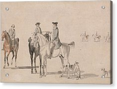 The Duke Of Cumberland With A Gentleman And A Groom, All Mounted, And Dogs Acrylic Print by Paul Sandby