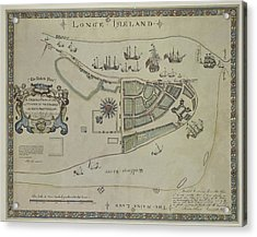 Acrylic Print featuring the photograph The Dukes Plan A Description Of The Town Of Mannados Or New Amsterdam 1664 by Duncan Pearson