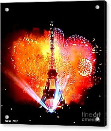The Eiffel Tower On July 14 By Taikan Acrylic Print
