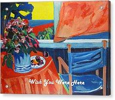 The Empty Blue Canvas Chair Acrylic Print