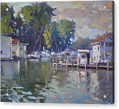 The End Of A Beautiful Day By The Boat Houses Acrylic Print