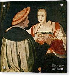 The Engagement Acrylic Print by Lucas van Leyden