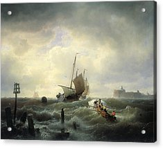 The Entrance To The Harbour At Hellevoetsluys Acrylic Print by Andreas Achenbach
