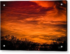 The Evening Sky Of Fire Acrylic Print by David Collins