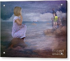 The Explorers Underneath The Night Sky At The Seashore Acrylic Print