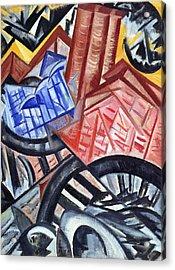 The Factory And The Bridge Acrylic Print by Olga Vladimirovna Rozanova