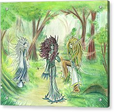 Acrylic Print featuring the painting The Fae - Sylvan Creatures Of The Forest by Shawn Dall