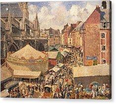 The Fair In Dieppe Acrylic Print by Camille Pissarro