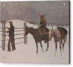 The Fall Of The Cowboy Acrylic Print by Frederic Remington