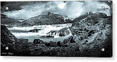 Acrylic Print featuring the photograph The Falls In Black And White by Andrew Matwijec
