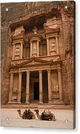 The Famous Treasury With Two Camels Acrylic Print by Taylor S. Kennedy