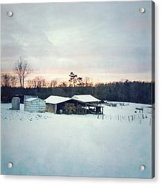 The Farm In Snow At Sunset Acrylic Print