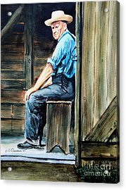 Acrylic Print featuring the painting The Farmer by Patricia L Davidson