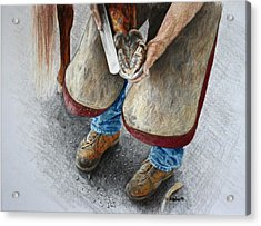 The Farrier Acrylic Print by Kathy Roberts