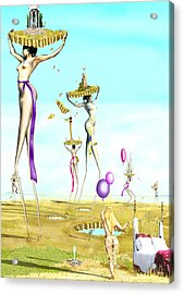 The Female Deity Sending Out Her Minions To Gather Male Religious Symbols One Acrylic Print by Leo Malboeuf