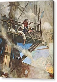 The Fight In The Fire-tops Against An English Ship Acrylic Print by Newell Convers Wyeth