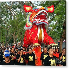Acrylic Print featuring the photograph The Fire Lion Procession In Southern Taiwan by Yali Shi