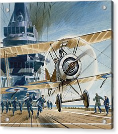The First Deck Landing Acrylic Print by Wilf Hardy